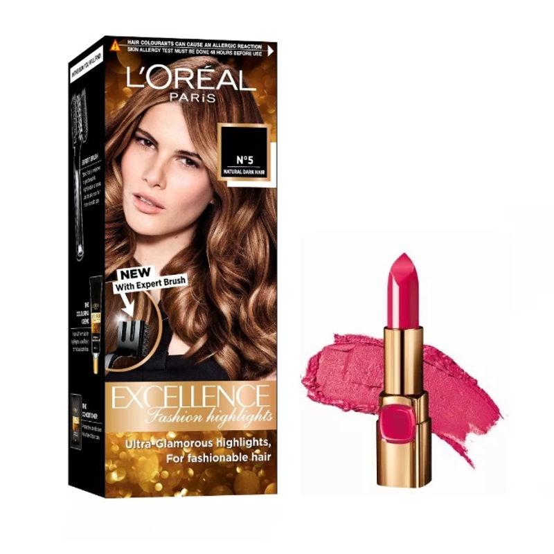 L'Oreal Paris Color Riche Moist Matte Lipstick - 214 Raspberry Syrup + Fashion Highlights Hair Color - Honey Blonde