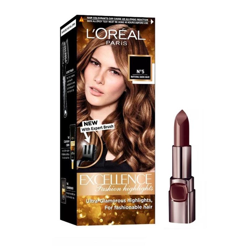 L'Oreal Paris Color Riche Moist Matte Lipstick - 232 Beige Couture + Fashion Highlights Hair Color - Honey Blonde