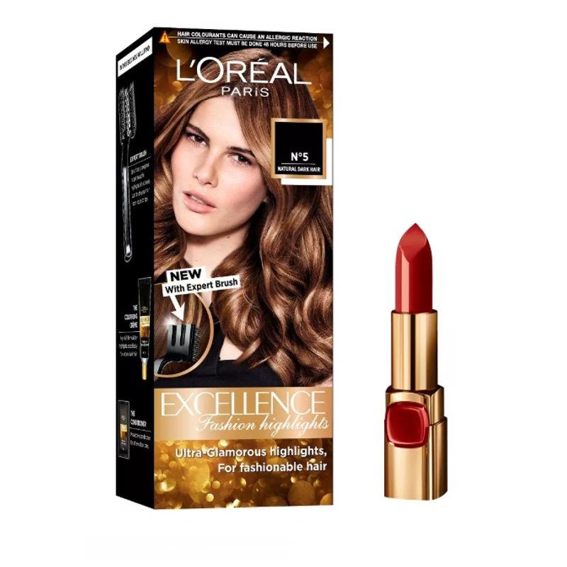 L'Oreal Paris Color Riche Moist Matte Lipstick - 240 Crimon En Scene + Fashion Highlights Hair Color - Honey Blonde
