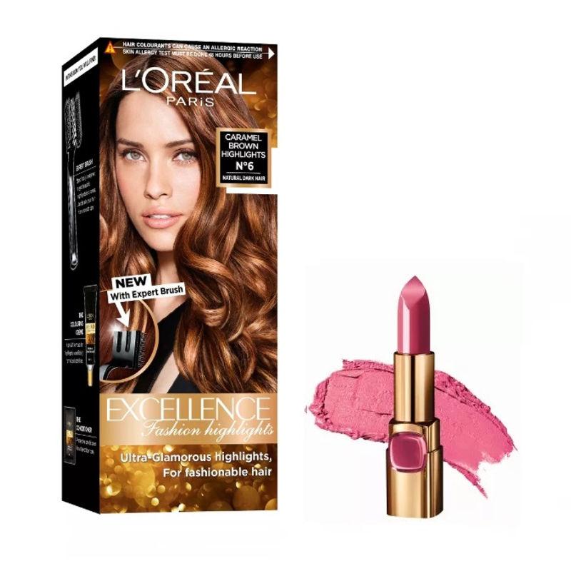 L'Oreal Paris Color Riche Moist Matte Lipstick - PR511 Spring Rosette + Fashion Highlights Hair Color - Caramel Brown