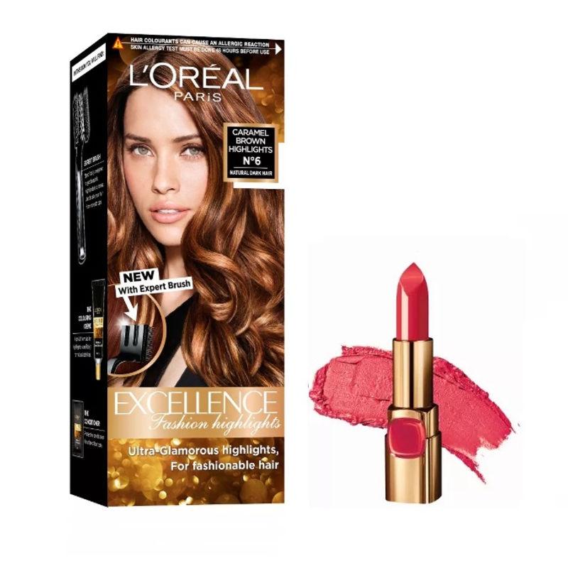 L'Oreal Paris Color Riche Moist Matte Lipstick - R516 Lincoln Rose + Fashion Highlights Hair Color - Caramel Brown