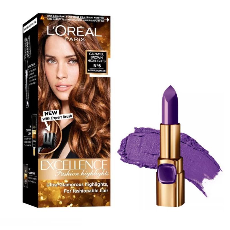 L'Oreal Paris Color Riche Moist Matte Lipstick - 238 Rouge Defile + Fashion Highlights Hair Color - Caramel Brown