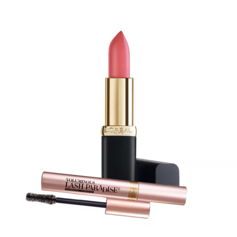 L'Oreal Paris Color Riche Matte Addiction Lipstick - Pink-a-porter + Free Voluminous Lash Paradise Mascara