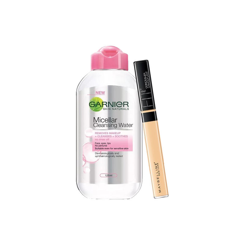 Maybelline New York Fit Me Concealer - 25 Medium + Garnier Skin Naturals Micellar Cleansing Water