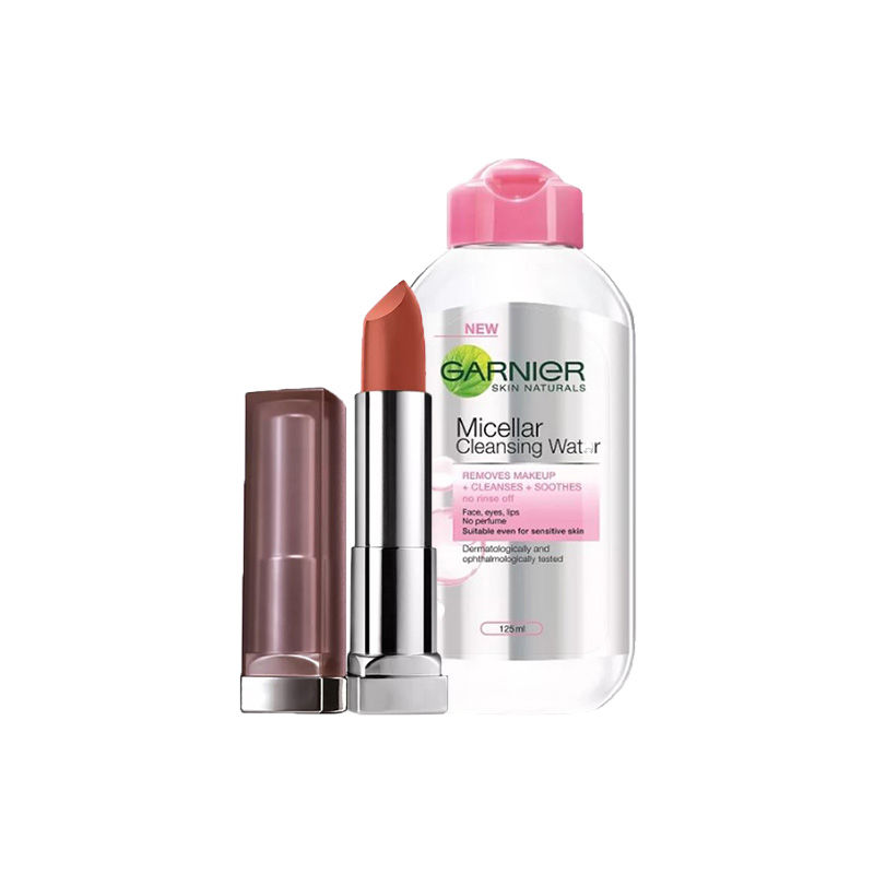 Maybelline New York Color Sensational Creamy Matte Lipstick - Touch Of Spice + Garnier Skin Naturals Micellar Cleansing Water