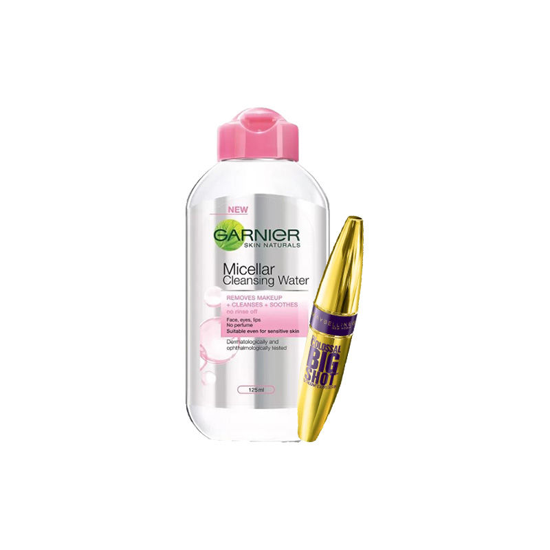 Maybelline New York Volume Express Colossal Big Shot Mascara - Blackest Black + Garnier Skin Naturals Micellar Cleansing Water