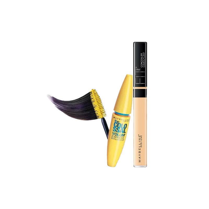 Maybelline New York The Colossal Volum Express Mascara Waterproof - 001 Black + Fit Me Concealer - 25 Medium
