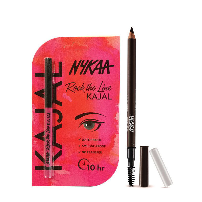 Nykaa Brow Chika WOW Eyebrow Pencil Coven Cocoa 01 + Rock The Line Kajal Eyeliner