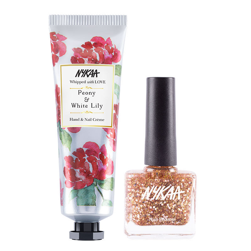 Nykaa Pamper And Shine Hand Creme And Nail Enamel Combo