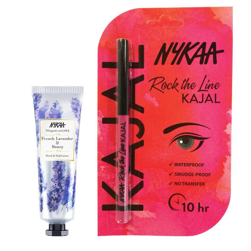 Nykaa Hand & Nail Creme - French Lavender & Honey + Rock The Line Kajal Eyeliner Combo