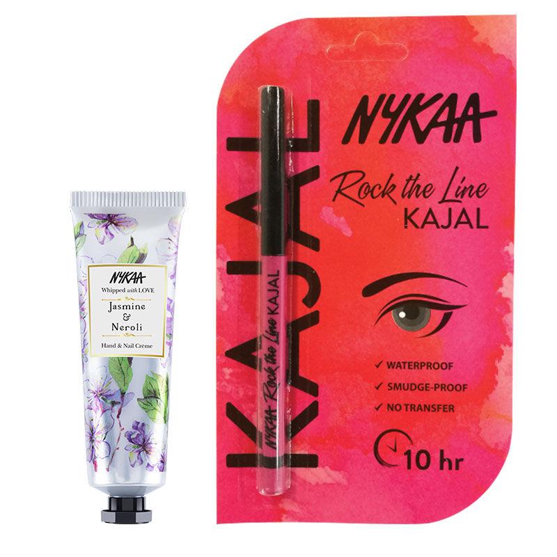 Nykaa Hand & Nail Creme - Jasmine & Neroli + Rock The Line Kajal Eyeliner Combo