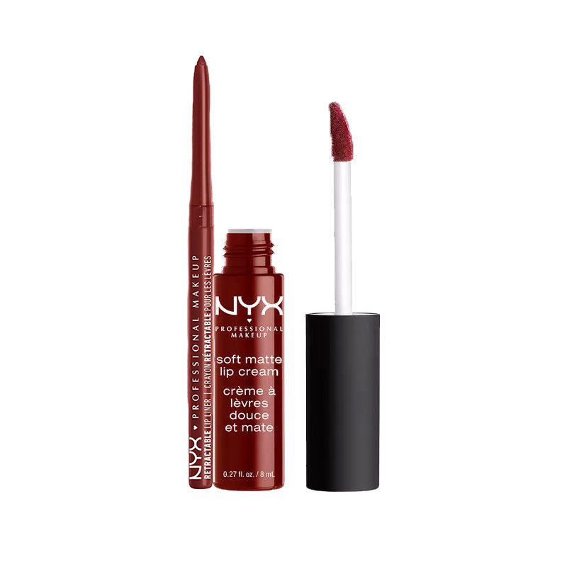 NYX Professional Makeup Retractable Lip Liner - Dark Red + Makeup Soft Matte Lip Cream - Madrid