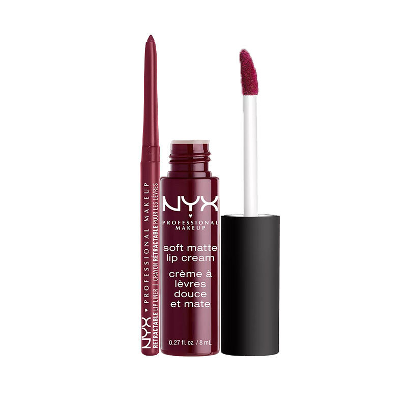 NYX Professional Makeup Retractable Lip Liner - Plum + Makeup Soft Matte Lip Cream - Copenhagen