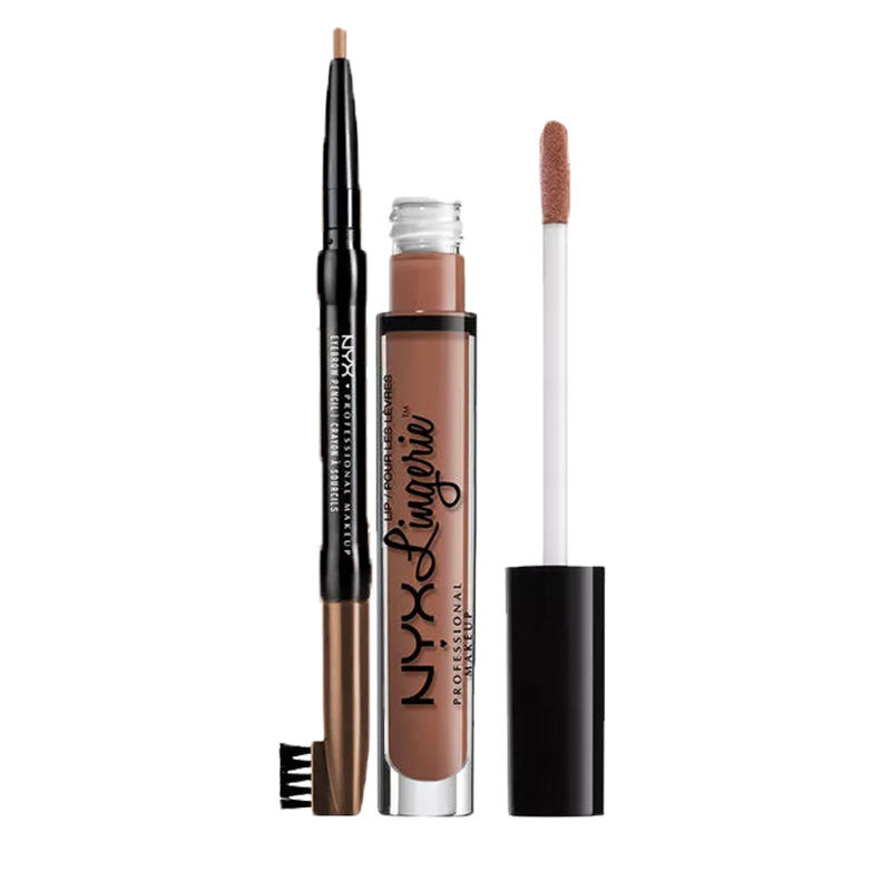 NYX Professional Makeup Auto Eyebrow Pencil - Light Brown + Makeup Lip Lingerie Liquid Lipstick - Bedtime Flirt