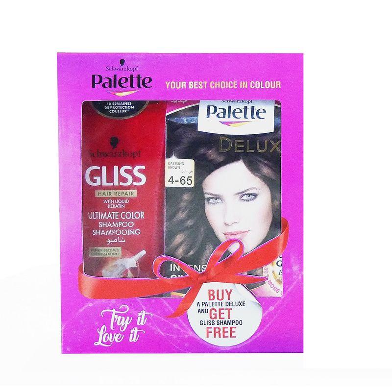 Schwarzkopf Palette Deluxe Intense Oil Care Color- 4-65 Dazzling Brown Get (Free Gliss Hair Repair Liquide Keratin Ultimate Color Shampoo)