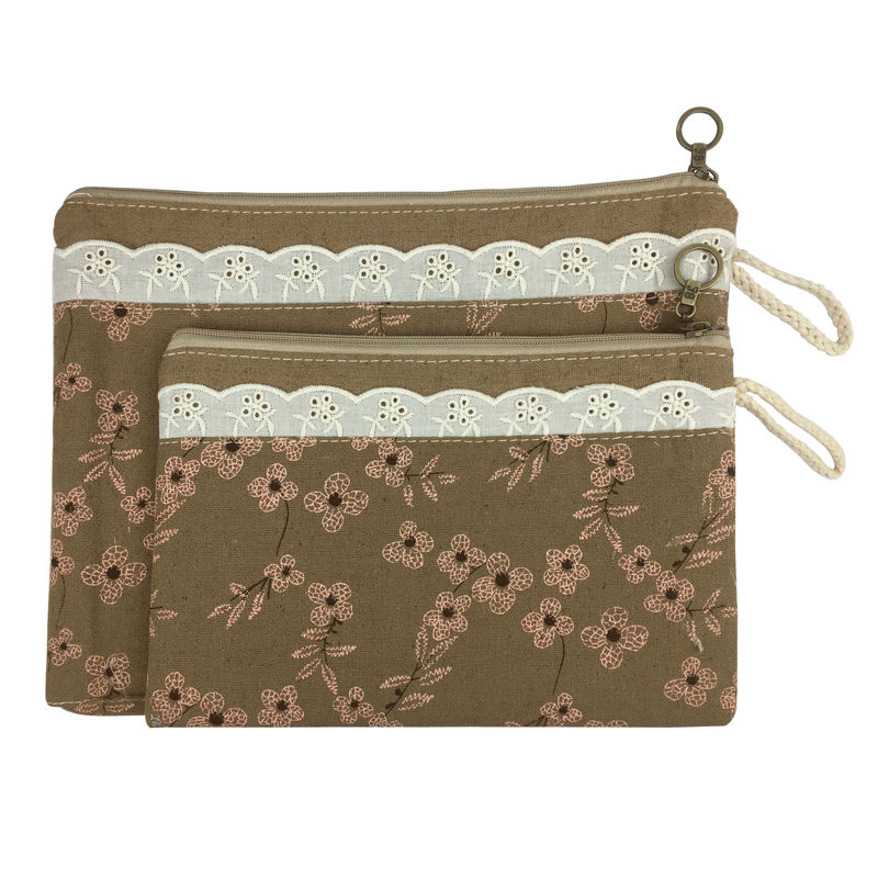 Bag Of Small Things Fabric Multipurpose Brown Floral Travel Pouch - Set Of 2