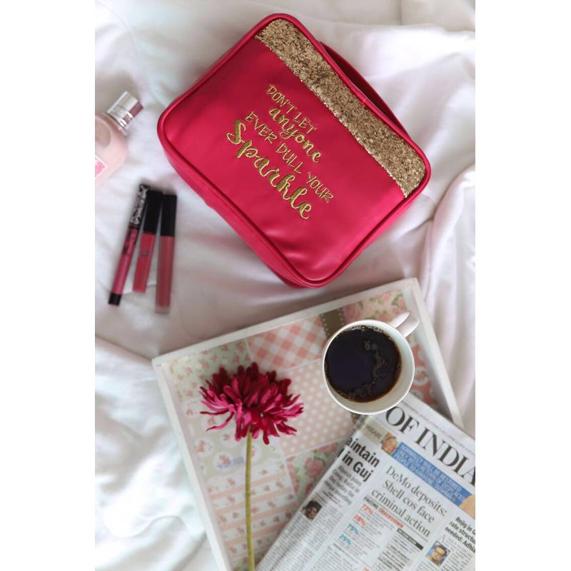 Organice Pink Glitter Don't Let Anyone Ever Dull Your Sparkle Cosmetic Organizer