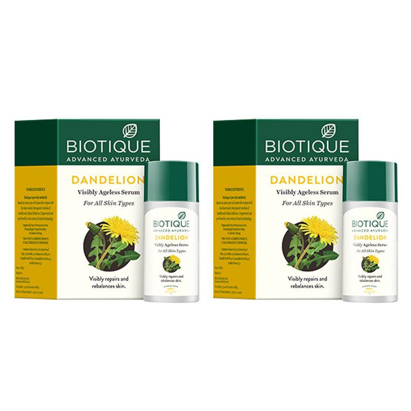 Biotique Dandelion Ageless Lightening Serum Pack Of 2 (Extra 5% Off)