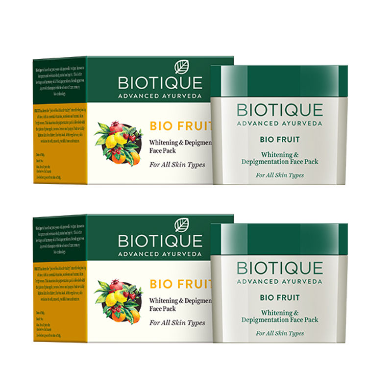 Biotique Fruit Whitening & Depigmentation Face Pack Pack Of 2 (Extra 5% Off)