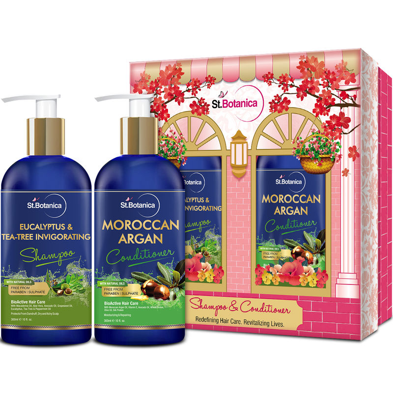 St.Botanica Eucalyptus & Tea Tree Oil Hair Repair Shampoo + Moroccan Argan Hair Conditioner