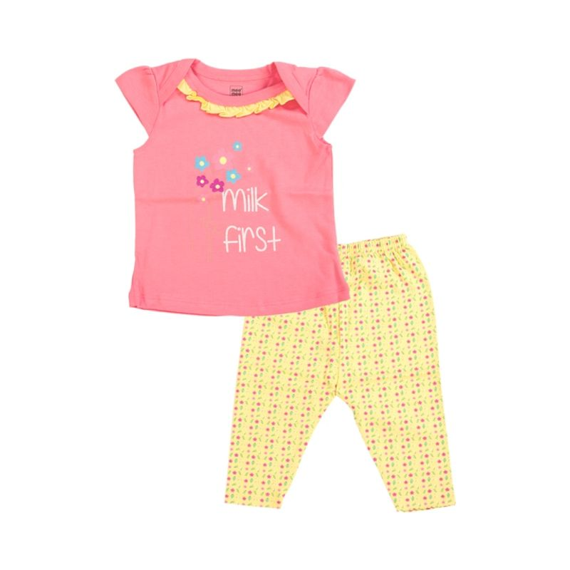 Mee Mee Half Sleeve Top & Short Set - Pink & Yellow