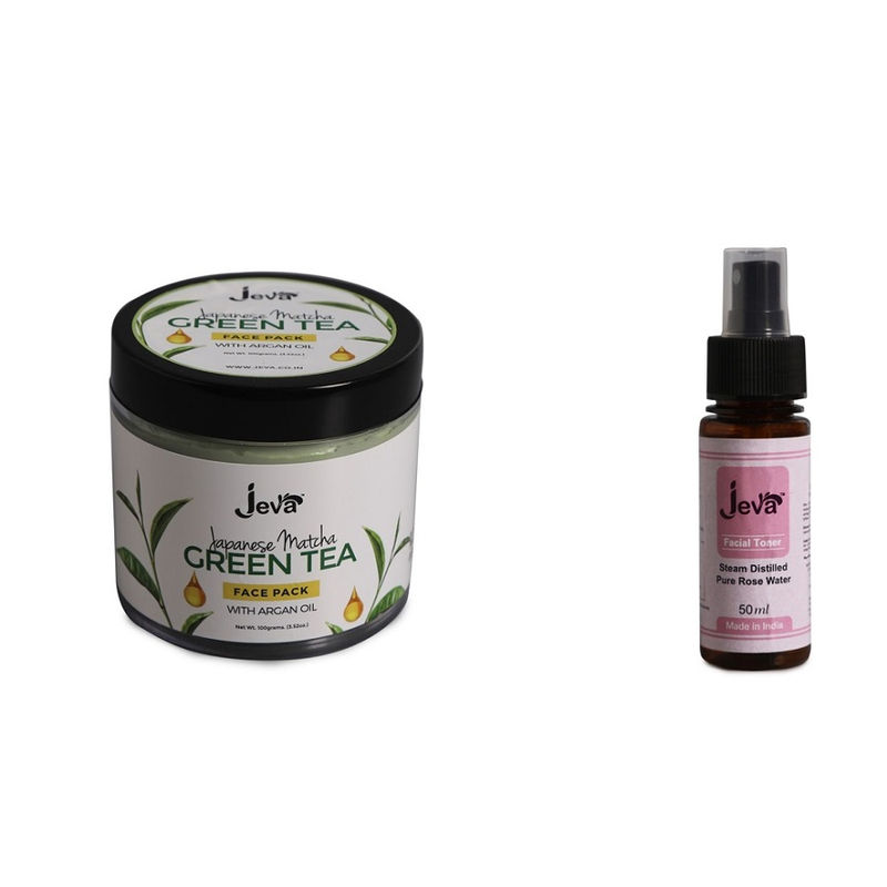 Jeva Matcha Green Tea And Pure Rose Water Skin Purifying Combo - For All Skin Types