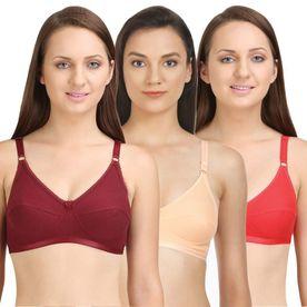 fa5d5aa326 Bodycare Perfect Coverage Bra In Maroon-Red-Dark Peach Color (Pack of 3