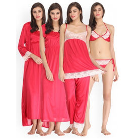 37a85706a1 Clovia 7 Pc Satin Nightwear Set - Pink (One Size) 56