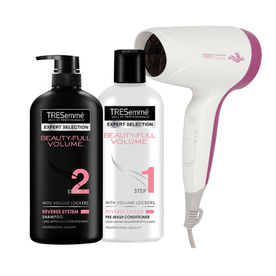Tresemme Beauty Full Volume Shampoo +  Beauty Full Volume Conditioner + Agaro Style Essential HD 6501 Hair Dryer (Purple)