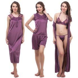 Fasense Women Satin Nightwear 6 PCs Set Of Nighty 3ee12ff22