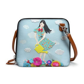 51fff65066 DailyObjects Girl In Flowerland - Trapeze Crossbody Bag