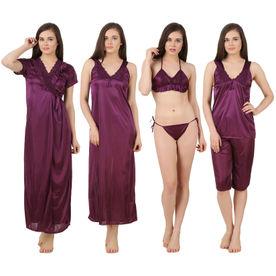 656897cfe0 Fasense Women Satin Nightwear 6 PCs Set of Long Wrap