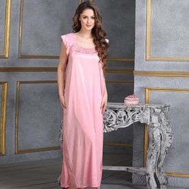 Clovia Long Satin Nighty In Baby Pink (Free Size) 4cd49ca47