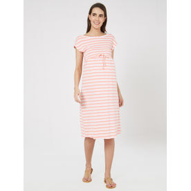Mystere Paris Maternity Knitted Rib Dress - Pink