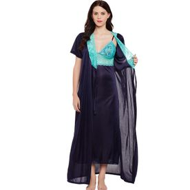Clovia Satin Nighty With Robe - Blue (Free Size) 4768909f8