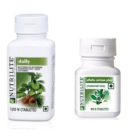 Amway Nutrilite Daily 120 & Alfalfa Calcium Plus, 90 Tablets - Combo of 2