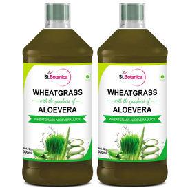 St.Botanica Wheatgrass With Aloevera Juice - Natural - 500ml x 2