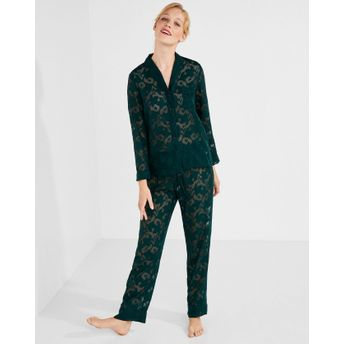 c336e1c3d0 Women secret Floral Jacquard Boyfriend Pyjama Set - Green at Nykaa.com