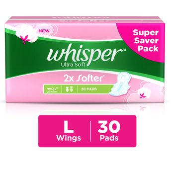 whisper happy period buy whisper ultra soft 2x softer large 30
