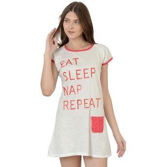 16cbc52269 Da Intimo T-Shirt Sleep Dress - White at Nykaa.com