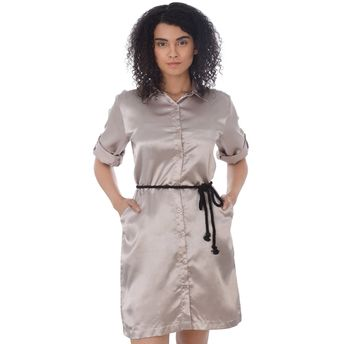 912053774d Da Intimo Satin Desire Grey Sleep Shirt at Nykaa.com