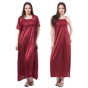 a95aa41d8a Fasense Women Satin Nightwear 2 PCs Set Of Nighty   Wrap Gown at ...