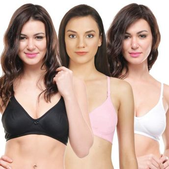Bodycare Seamless Cup Bra In Black-Pink-White Color - Pack Of 3 at ... b495b8762