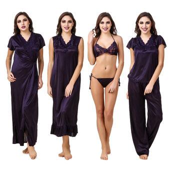 Fasense Women Satin Navy Blue Nightwear 6 Pc Set of Nighty 8bcd00622