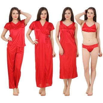 e118431bb Fasense Women Satin Nightwear 6 PCs Set of Long Wrap