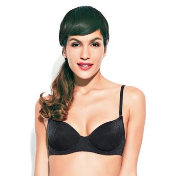 ee393cad00 Enamor Balconette Underwired Padded Bra - Black at Nykaa.com