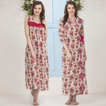 b1a2d73c5d Clovia Cotton Rich Floral Print Nighty   Robe - Multi-Color at Nykaa.com