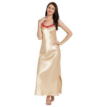 Blush Gold Satin Long Nightdress at Nykaa.com 54ed733b1117a