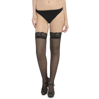 7837b4f55d257 N-Gal Combo Set Of 2 Lace Top Decoration Sheer Black & Pink Knee Socks  Thigh High Stockings(Free Size)