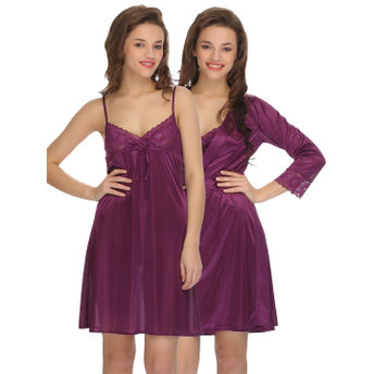 c95bb1ca88 Clovia 2 Pcs Set Of Nightslip And Robe - Purple at Nykaa.com